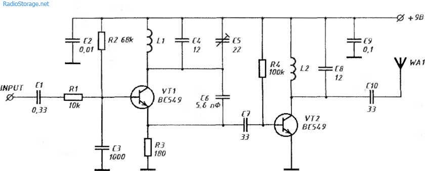 Схема простого УКВ ЧМ передатчика с усилителем мощности ВЧ
