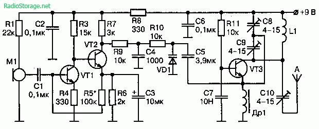 Схема УКВ радиопередатчика (200 мВт, 9В)