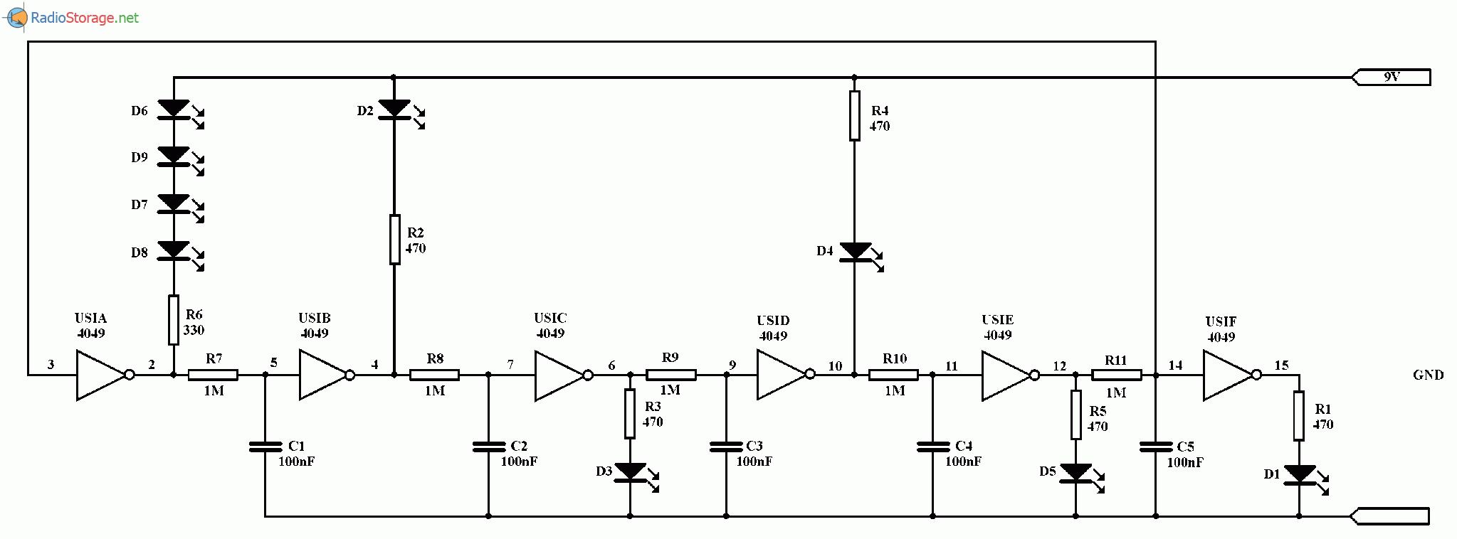 Мигающий указатель направления (стрелочка) на светодиодах, схема
