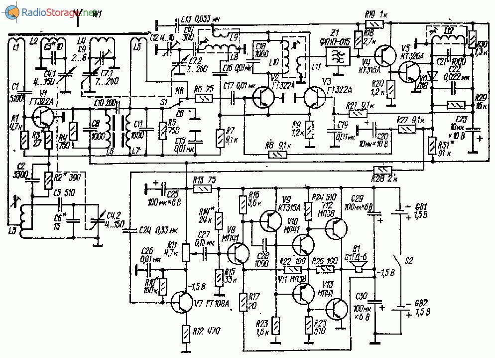 Схема супергетеродина СВ-КВ с питанием от 3В