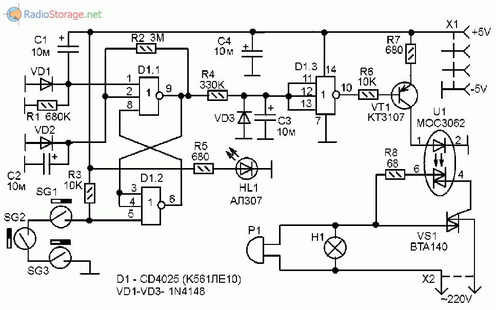 Cd4025 схема включение