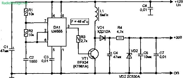 Преборазователи 12 в 18В, 12 в 30В (LM555)