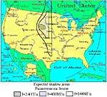 Результат расчета границ радиотени для США