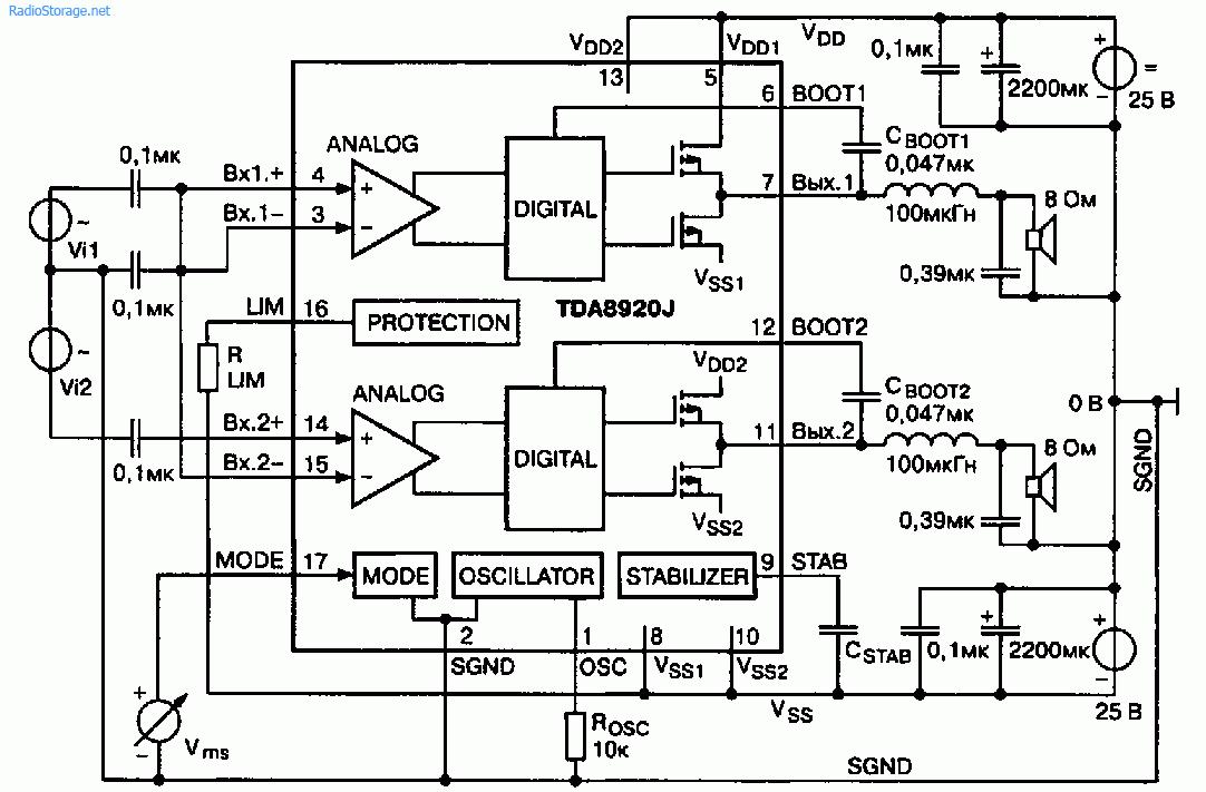 Мощный импульсный УНЧ класса D Philips TDA8920 (2x50 Вт)