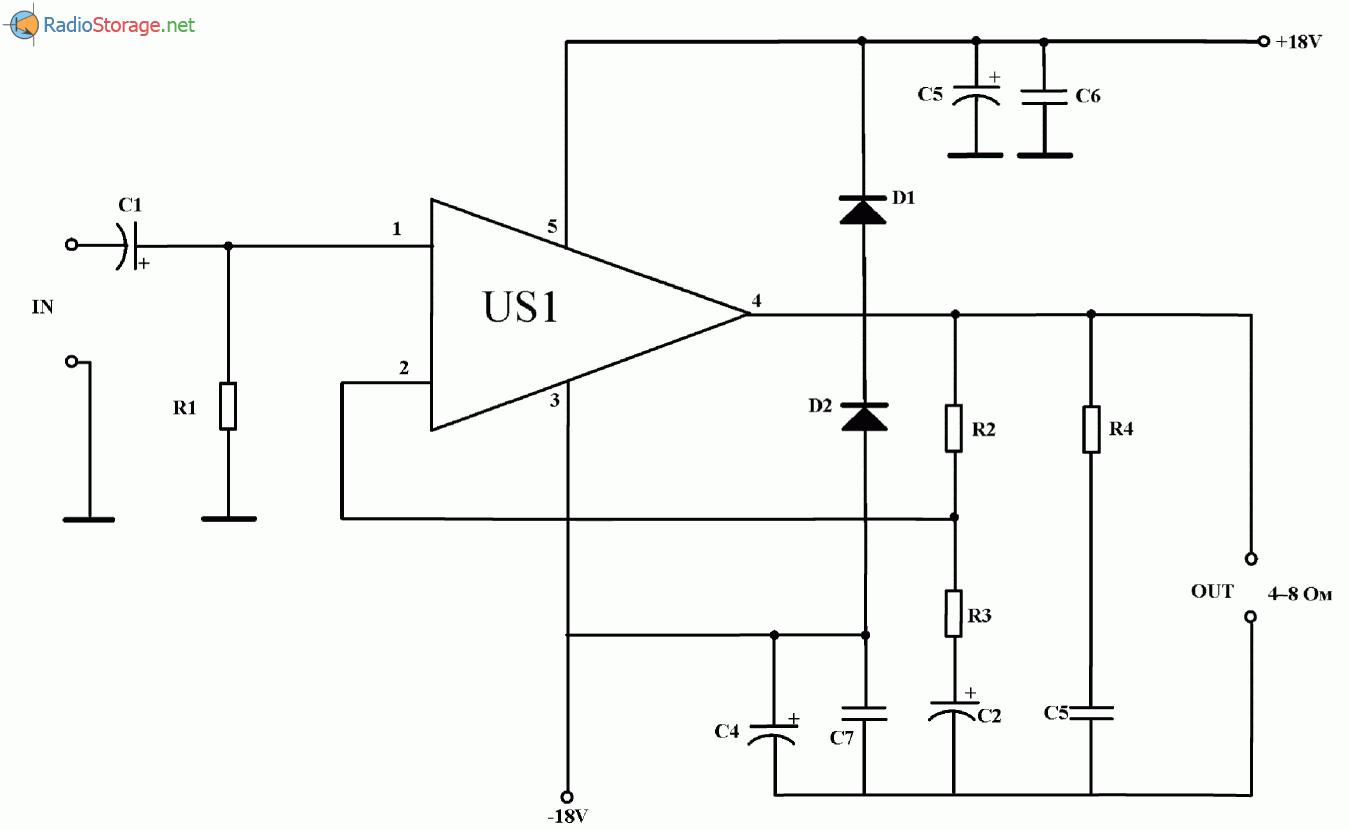 15 Вт УНЧ на микросхеме ТСА1365, схема