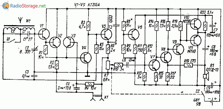 Громкоговорящий СВ-ДВ приемник на одиннадцати транзисторах
