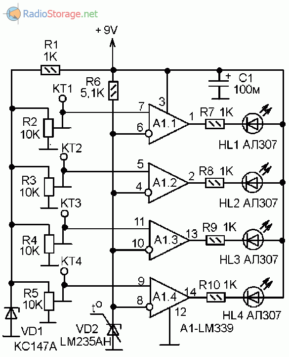 Принципиальная схема индикатора температуры на 4 уровня измерения