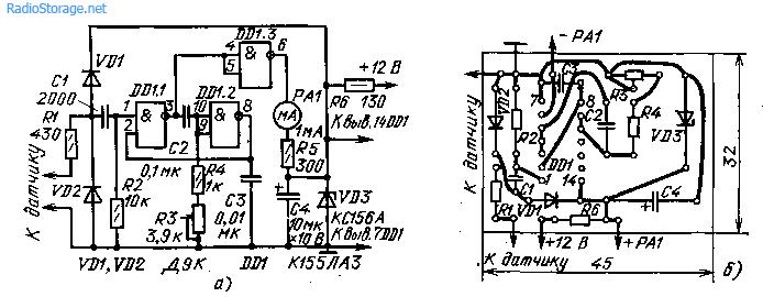 Схема тахометра на микросхеме К155ЛА3