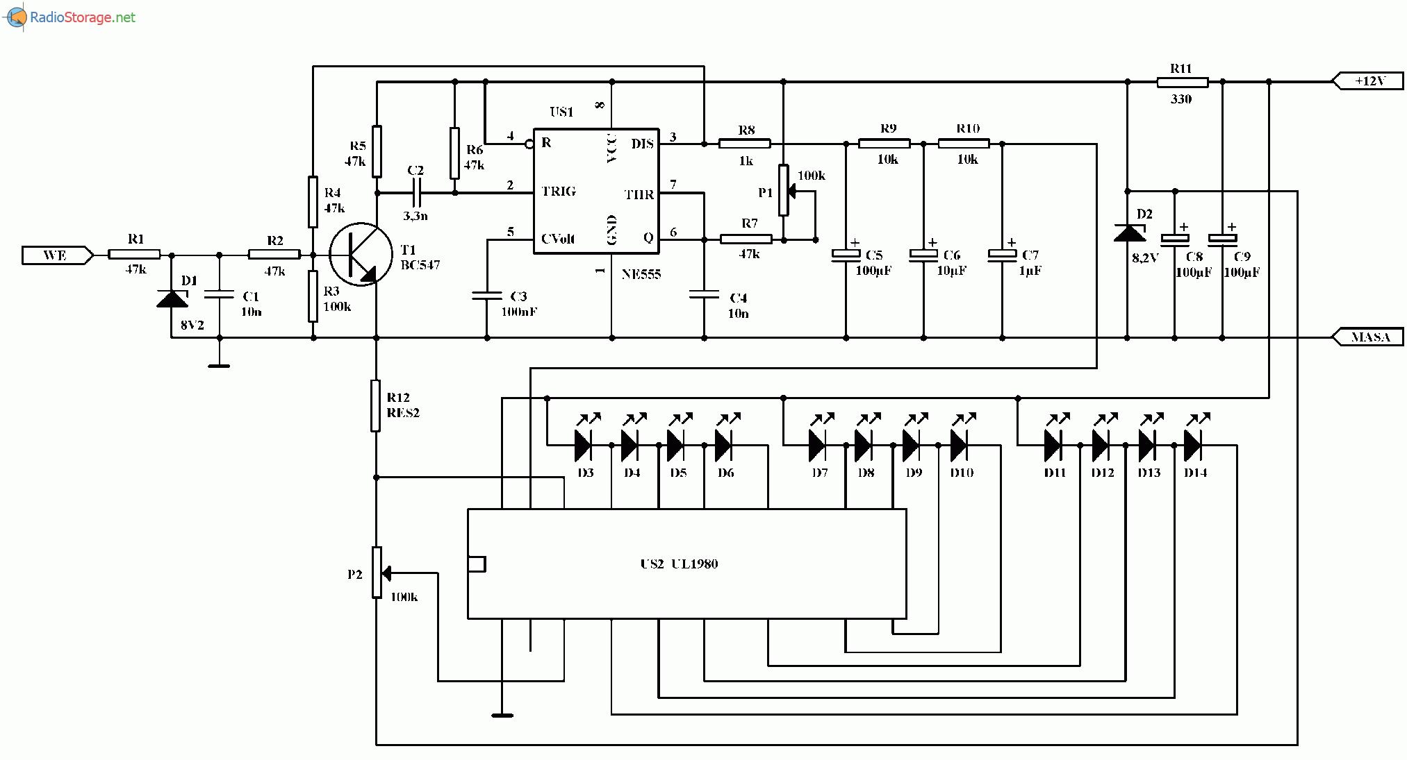 Приставка - автомобильный измеритель оборотов двигателя, схема