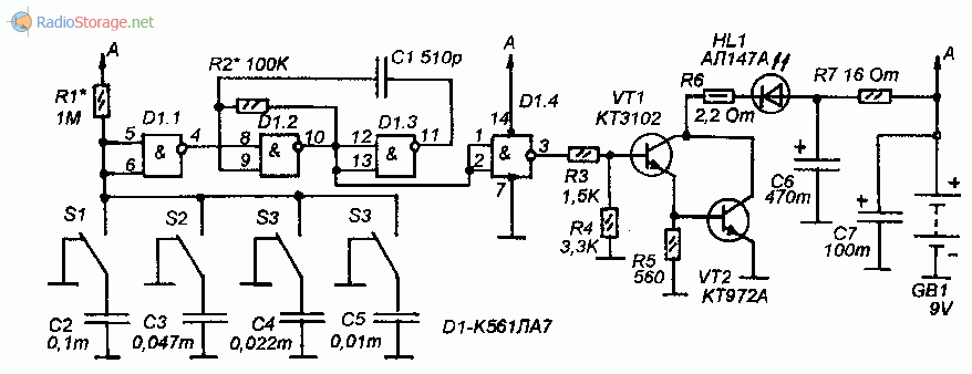 Принципиальная схема передатчика ИК-сигнала