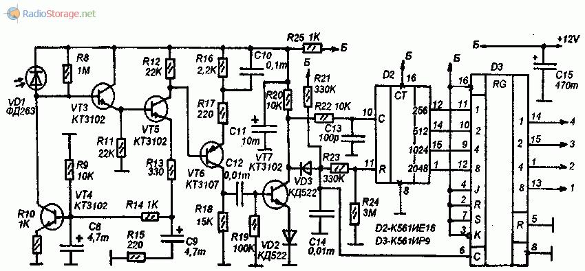 Принципиальная схема приемника команд на ИК-лучах