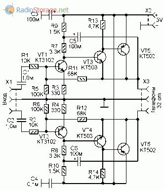 Принципиальная схема усилителя для стерео наушников 32 Ом выполненного на транзисторах