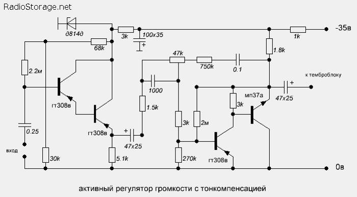Схема активного регулятора громкости с тонкомпенсацией