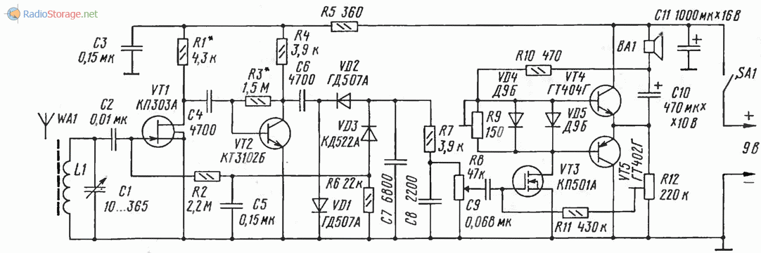 Принципиальная схема приемника на полевых транзисторах