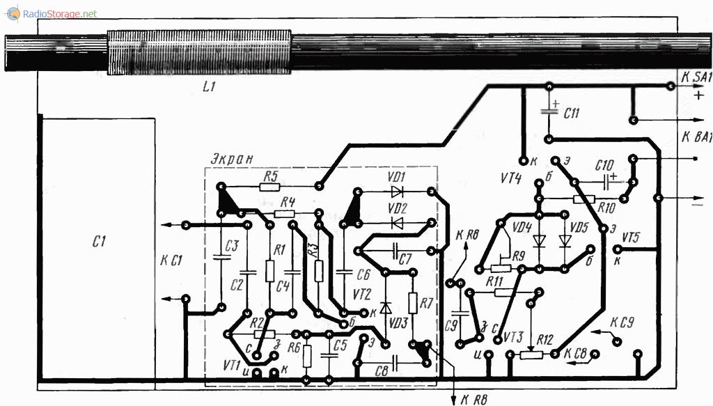 Печатная плата и конструкция приемника на полевых транзисторах