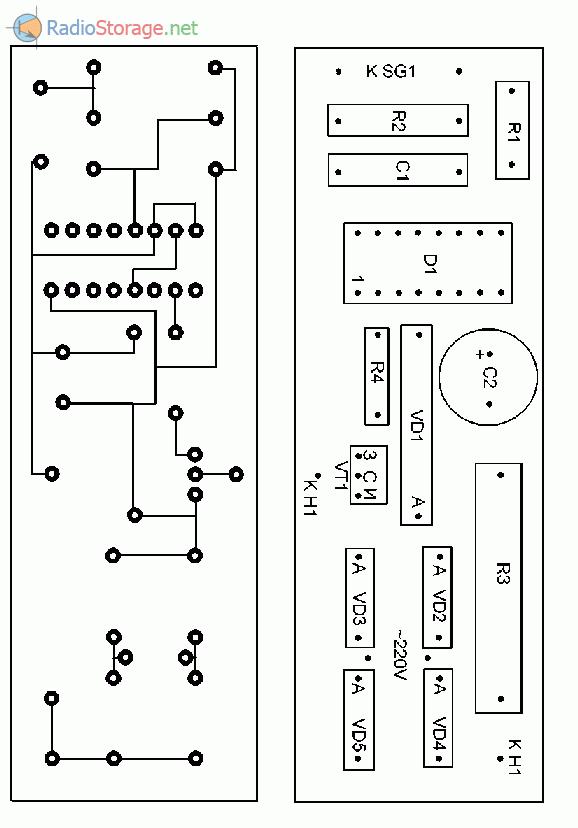 Печатная плата выключателя освещения для двери