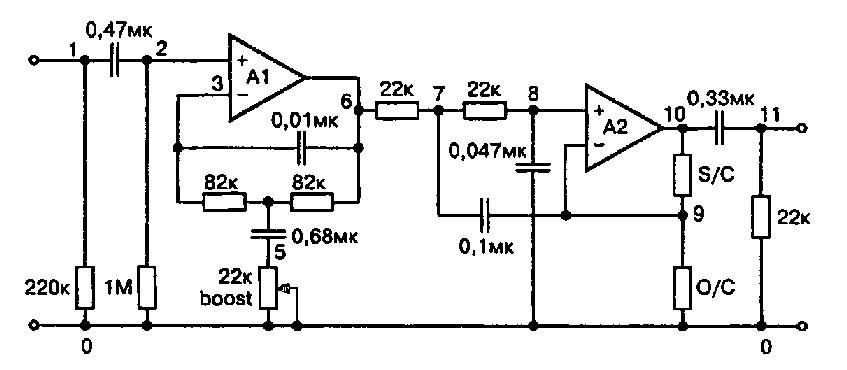 Схема активного фильтра для сабвуфера