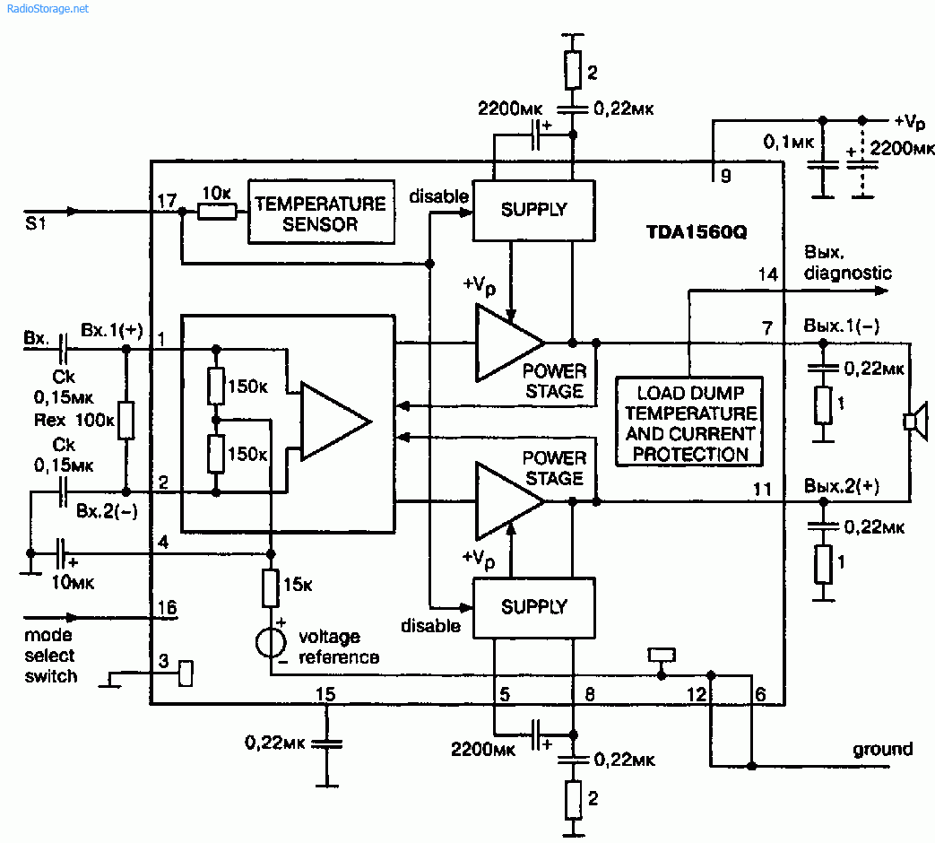 Схема мощного УНЧ класса Н на Philips TDA1560