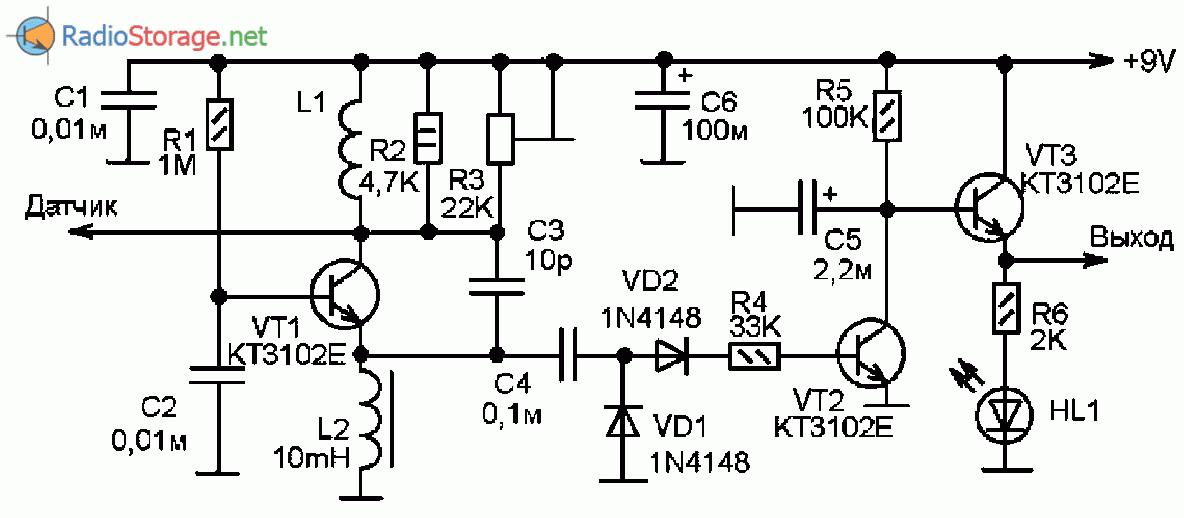 Принципиальная схема емкостного датчика на трех транзисторах КТ3102