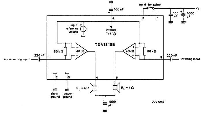 Принципиальные схемы включения микросхемы TDA1519B стерео