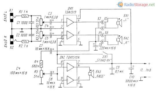Принципиальная схема трехканального УНЧ на микросхемах TDA1519(стерео) и TDA1519A(мост)