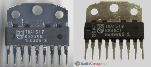 Внешний вид микросхем TDA1517, TDA1519, TDA1519B (SOT110B, 9 выводов)