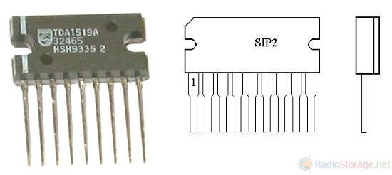 Микросхема TDA1519A - внешний вид и цоколевка (SOT131, 9 выводов)