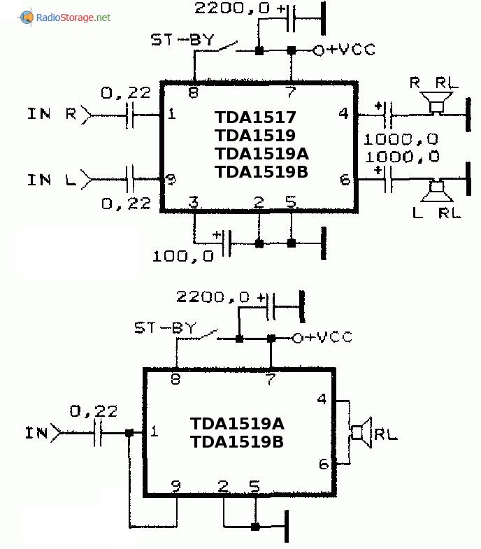 Принципиальные схемы включения усилителей TDA1517, TDA1519