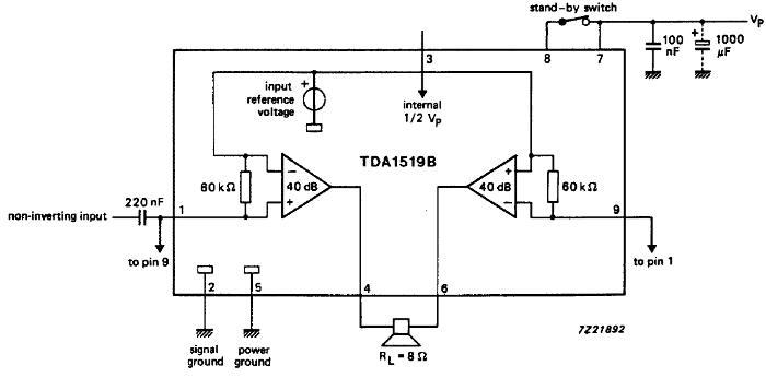 Типовое включение микросхемы TDA1519B в мостовом (Bridge) режиме