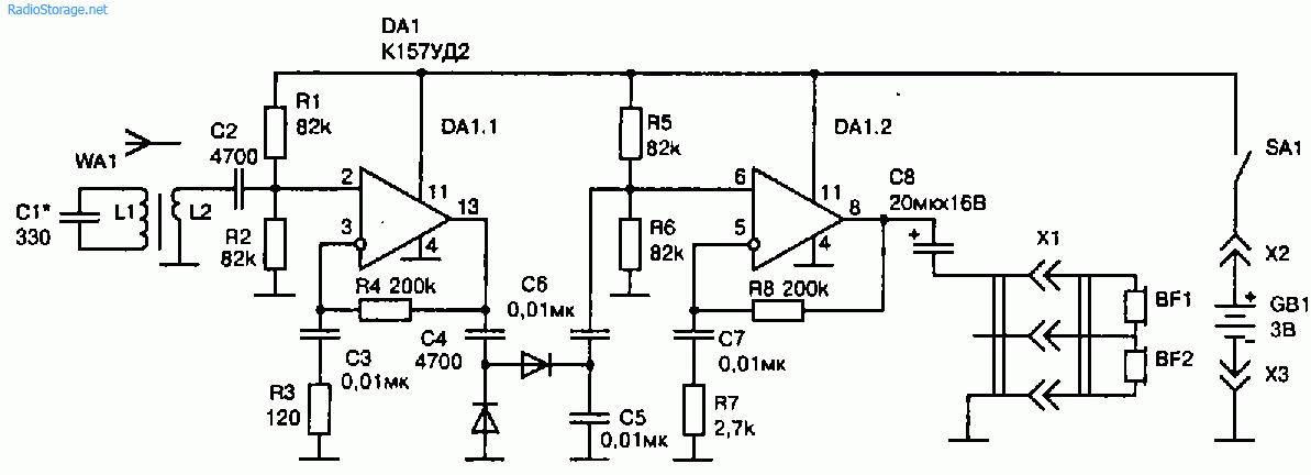 Схема простого радиоприемника на микросхеме К157УД2