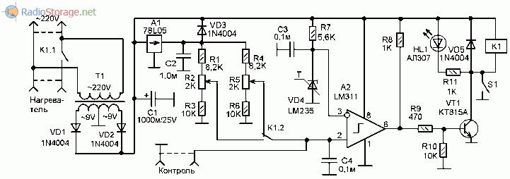 Принципиальная схема регулятора температуры (термостата) на LM311