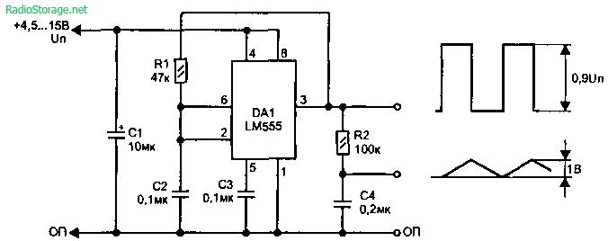 Простые генераторы сигналов пилообразной и треугольной формы