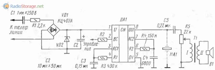 Схема вызывного устройства на микросхеме из второй группы