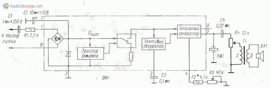 Схема вызывного устройства с использованиемспециализированной микросхемы