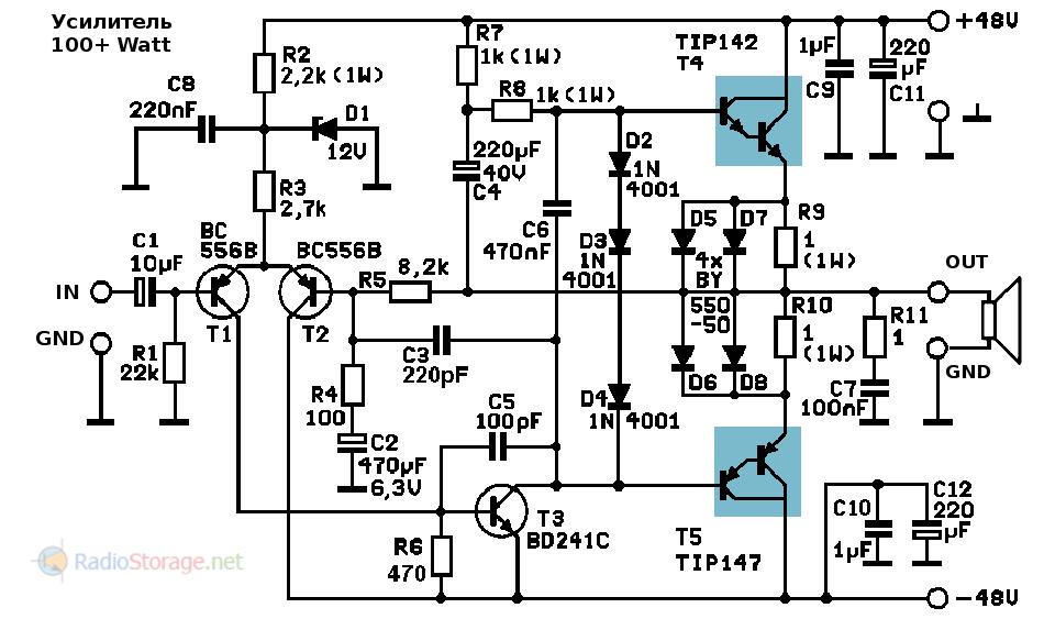 Принципиальная схема транзисторного усилителя мощности на TIP142, TIP147