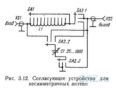 Согласующее устройство для нессиметричных антенн
