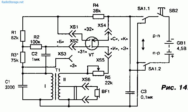 Схема тестера для проверки биполярных и полевых транзисторов