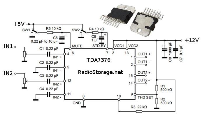 Принципиальная схема автомобильного УНЧ на микросхеме TDA7376B
