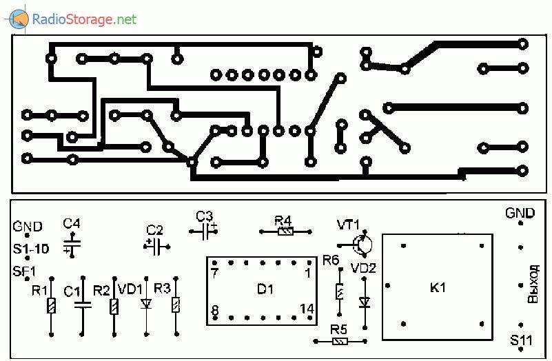 Печатная плата для охранной сигнализации с кодовым отключением
