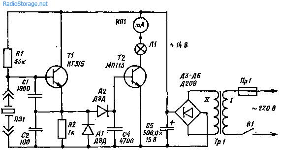 Схема простого пробника-испытателя кварцев