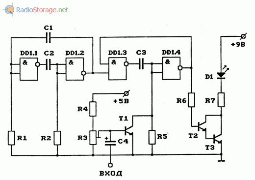 Схема передатчика с широтно-импульсной модуляцией инфракрасного излучения ИФ-светодиода