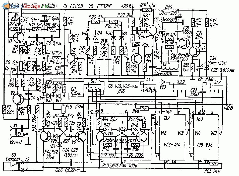 Схема ударного электромузыкального автомата