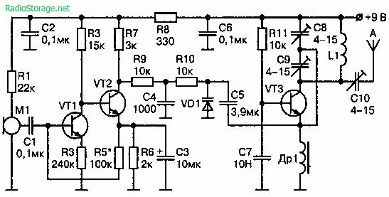 Схема мощного радиопередатчика с ЧМ на 65—108 МГц (9В, дальность 100-600м)