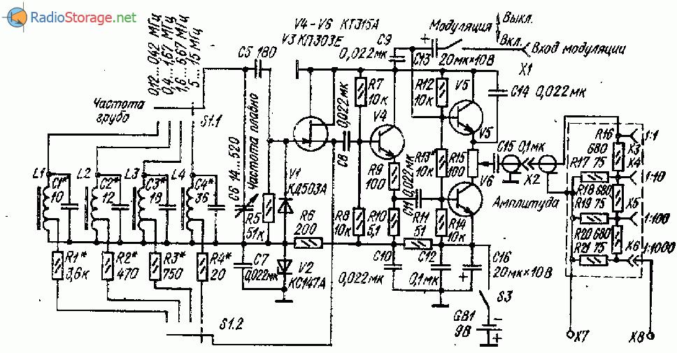 Транзисторный генератор прямоугольных импульсов с перестройкой