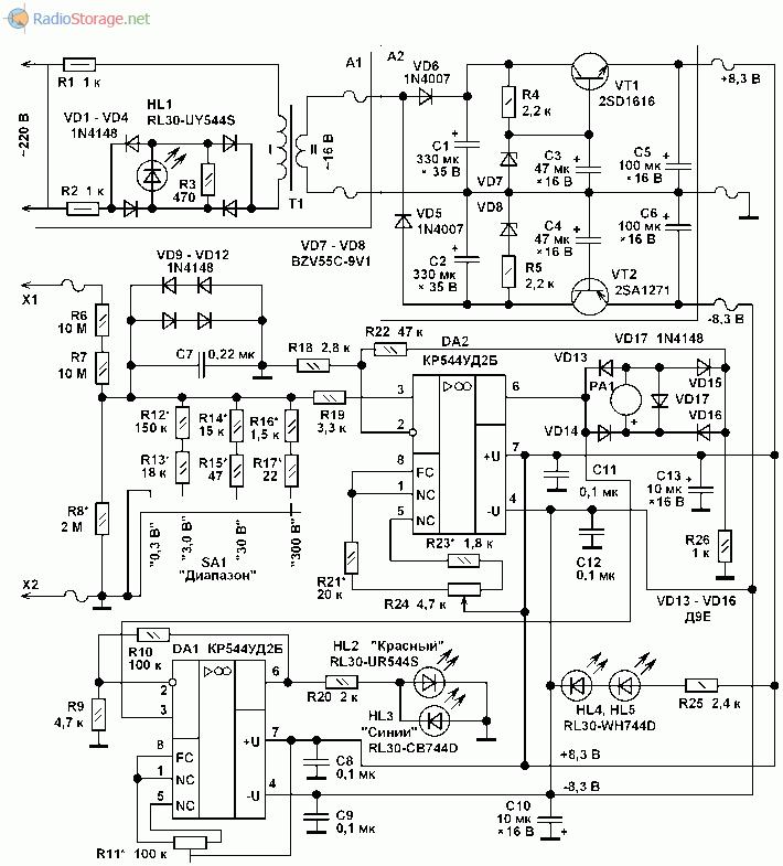 Принципиальная схема высокоомного вольтметра постоянного напряжения со стрелочной индикацией