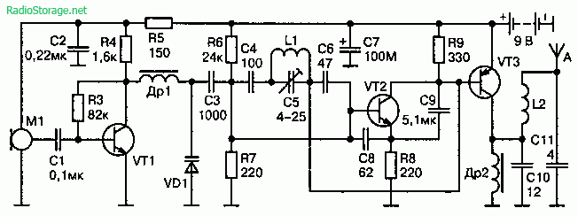 Радиопередатчик с широкополосной ЧМ 65—108 МГц (9В, 100-200м)