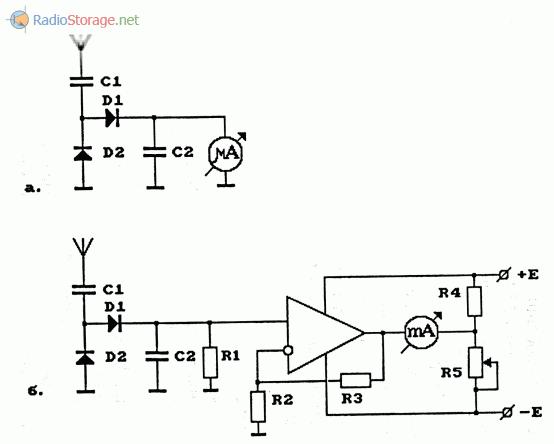 Схемы измерителей напряженности поля (волномеров), используемых для настройки антенн передатчиков