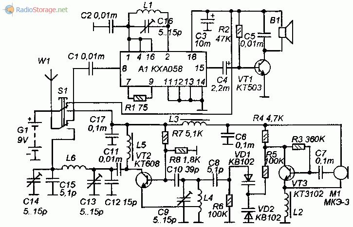 Принципиальная схема FM радиостанции на транзисторах и микросхеме kxa058