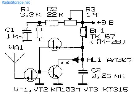 Схемы индикаторов электрических и магнитных полей