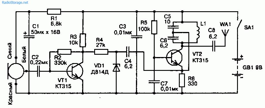Схема радиомикрофона на частоту 66...74 МГц (9В, дальность 50м)